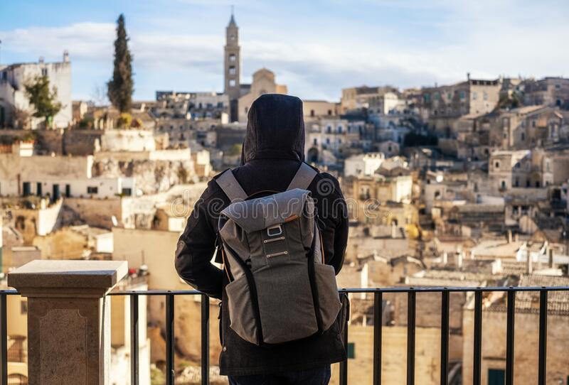Photographer taking pictures of beautiful Matera town, Italy stock image