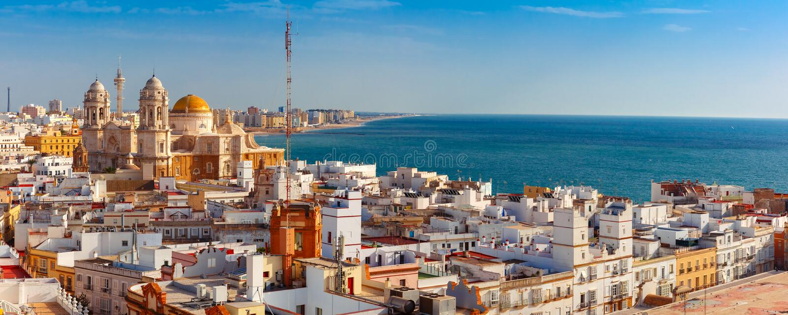Rooftops and Cathedral in Cadiz, Andalusia, Spain stock photo