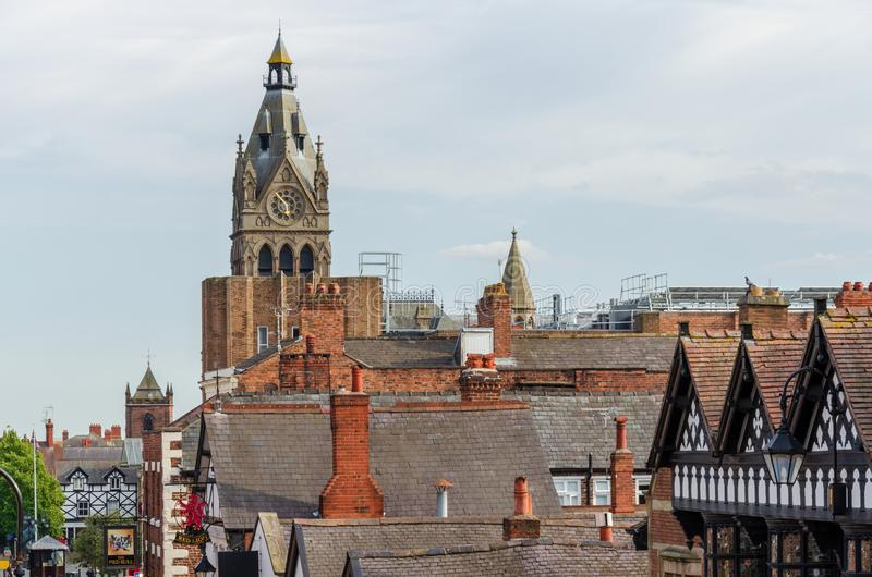 Rooftops of Chester city centre. Chester, UK: Aug 6, 2018: Looking across the rooftops of Chester city centre with the tower of Chester Town Hall visible stock image