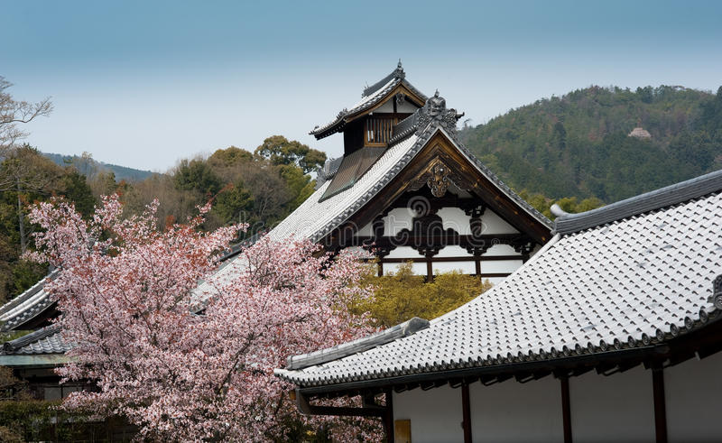 Rooftops of Japanese castle in Kyoto