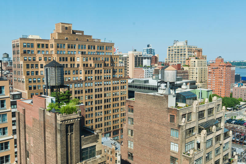 Rooftops. Looking over rooftops on Manhattan's West Side stock images