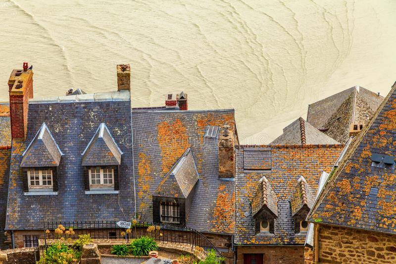 Rooftops on Mont Saint Michel stock photography