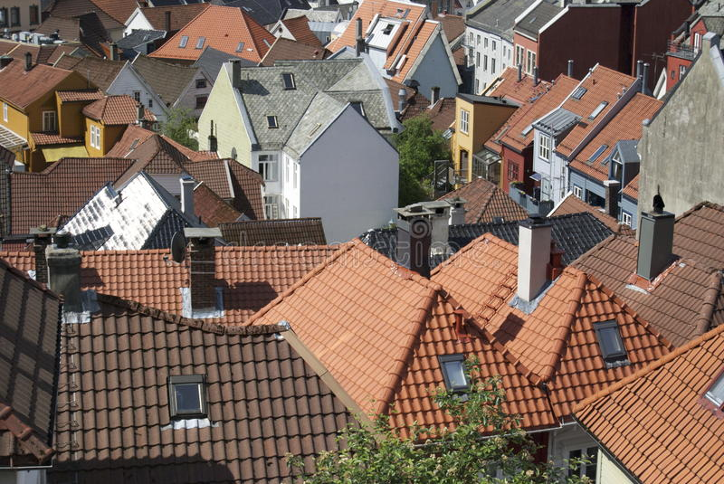 Rooftops of Norway stock images