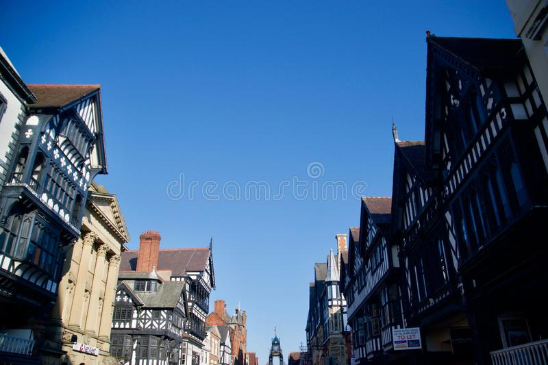 Rooftops of old Chester. Chester city Cheshire England united kingdom stock photos