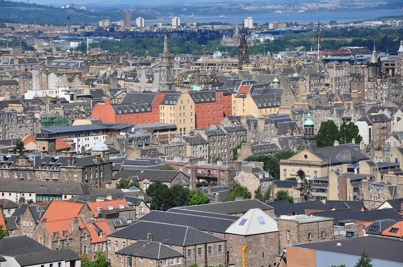 Rooftops over edinbrgh stock photography