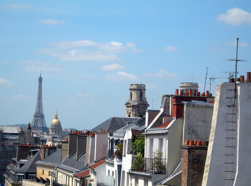 Rooftops Paris France latin quarter view Eiffel Tower stock photo