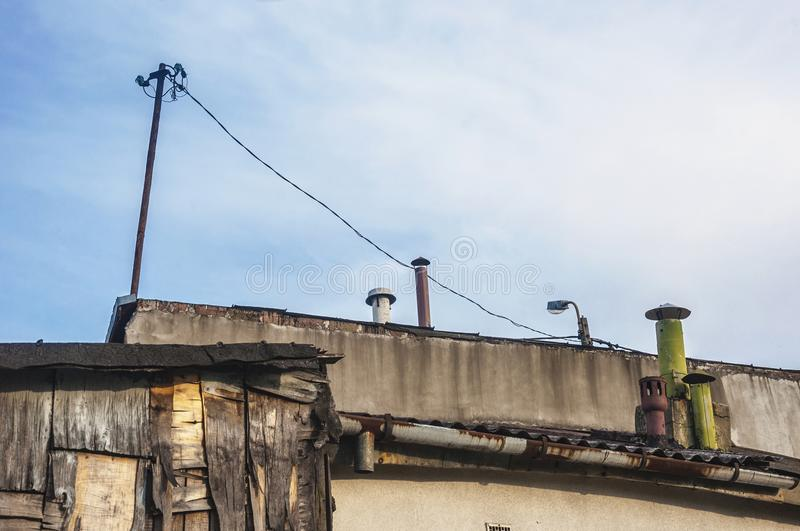 Rooftops of poor sheds and buildings in slums.  stock images