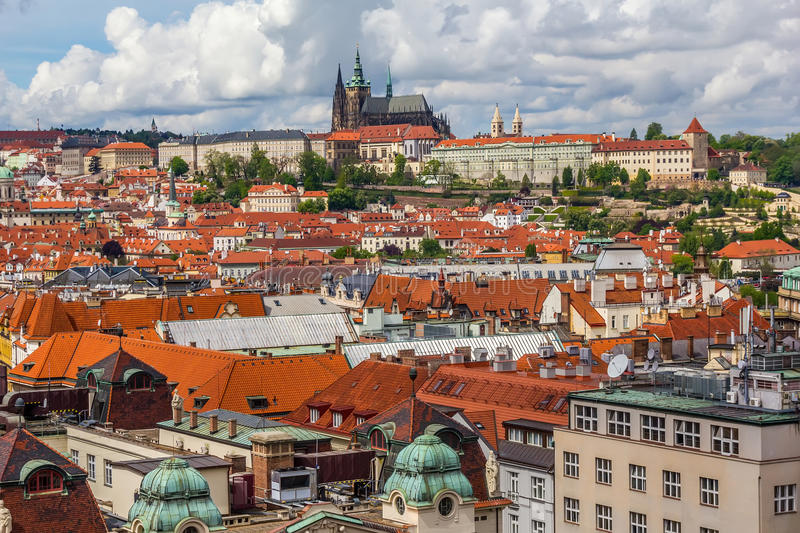 Rooftops with Prague Castle stock photos