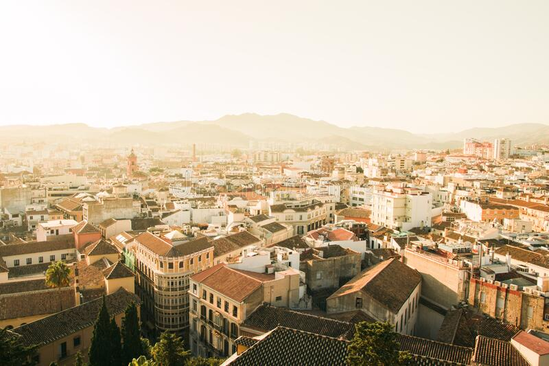 Rooftops of Spanish city stock photo