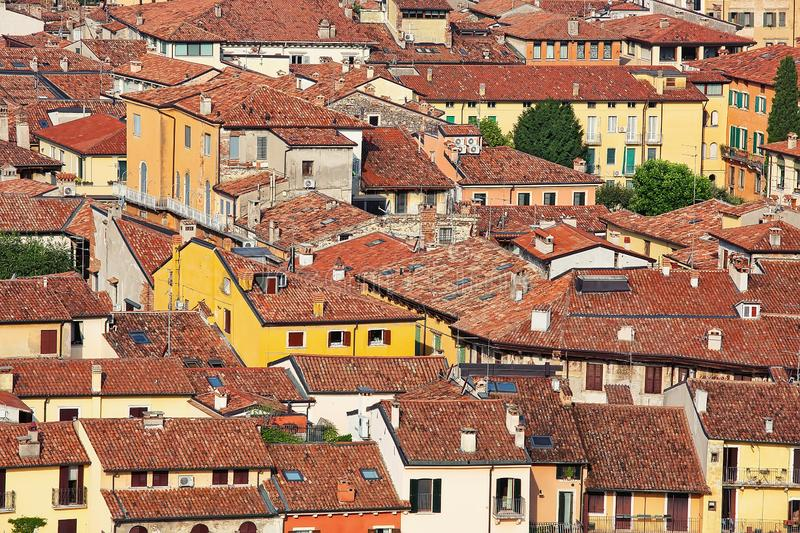 Rooftops of Verona, urban outdoor background stock photography