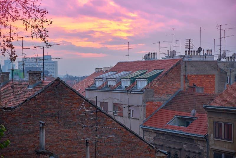 rooftops zagreb royaltyfria foton