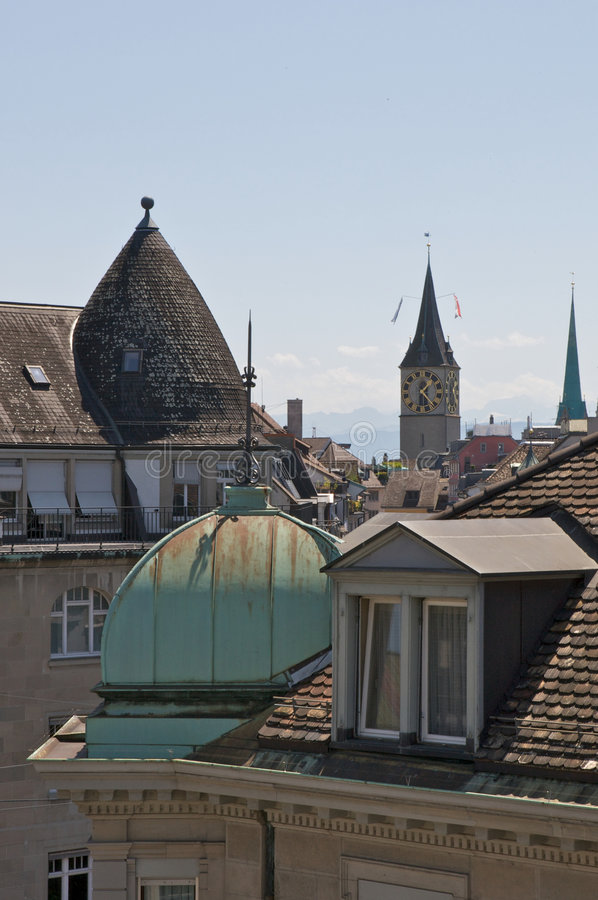 Rooftops in Zurich stock photos