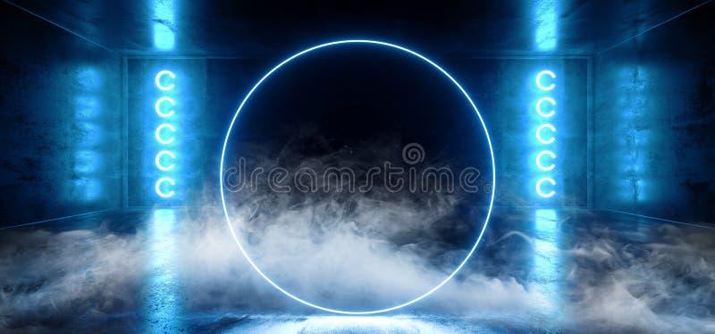 Rook de Cirkel Gestalte gegeven Neon het Gloeien Blauwe Trillende Virtuele Donkere Lege Grunge Bezinning Concreet Hall Room Stage vector illustratie