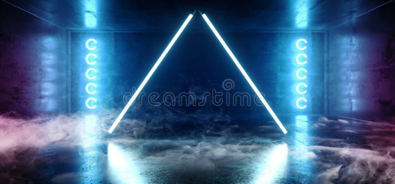 Rook de Driehoek Gestalte gegeven Neon het Gloeien Blauwe Trillende Virtuele Donkere Lege Grunge Bezinning Concreet Hall Room Sta stock illustratie