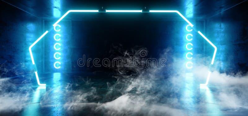 Rook de Poort Gestalte gegeven Neon het Gloeien Blauwe Trillende Virtuele Donkere Lege Grunge Bezinning Concreet Hall Room Stage  stock illustratie