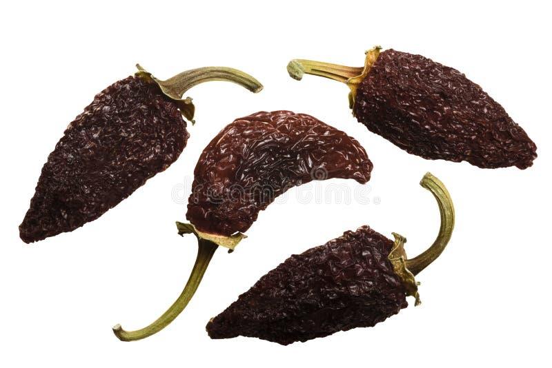 Rook-droge Jalapenos Chipotle, bovenkant, wegen royalty-vrije stock foto