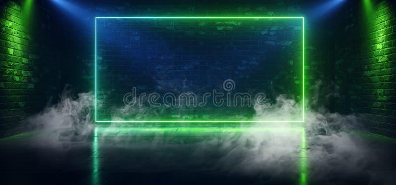 Rook Fog Sci Fi Neon Green Blue Rechthoek Retro Lasers Spot Licht Lege Stage Podium Brick Room Shocase Night Club royalty-vrije illustratie