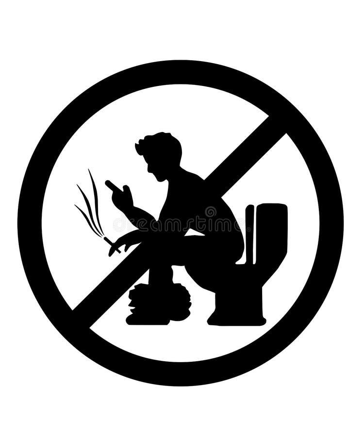 Rook niet en gebruik de telefoon niet in het toilet stock illustratie