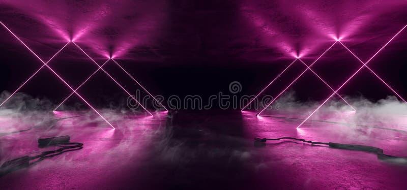 Rook Sci Fi Neon Glower Purple roze Violet Background Laser Gate Lines Floor Lasers Stage Show Night Retro Futuristic stock illustratie