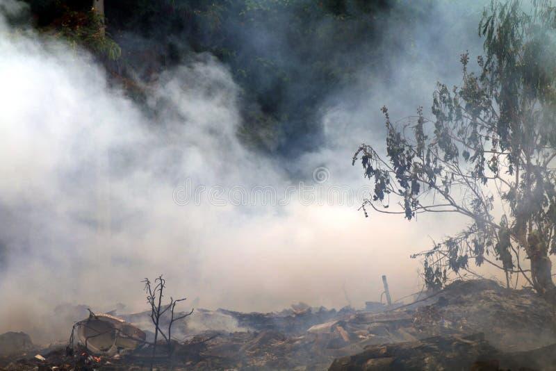 Rook van het stof van de het huisvuilverontreiniging van het brandwond een afval, rook door huisvuil op bosachtergrond wordt gepr stock foto's