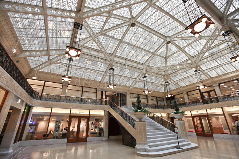 Rookery building interior Chicago Illinois stock images