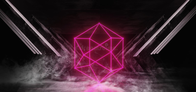 Rookneon Rode het Gloeien van de het Ruimteschip Abstracte Driehoek van FI van Driehoekssc.i Futuristische Virtuele van het Metaa royalty-vrije illustratie
