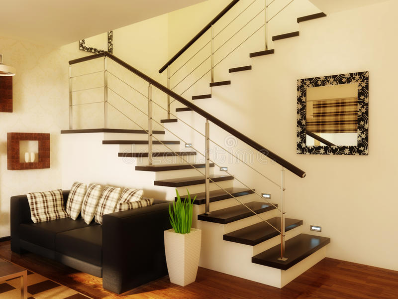 Room. Modern interior room with white wall and black sofa royalty free stock image