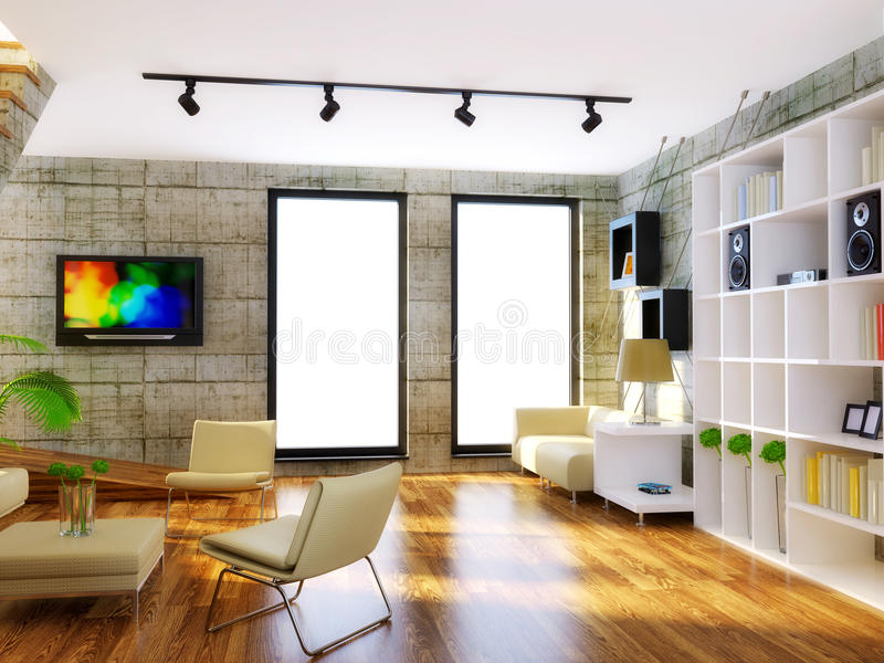 Room. Modern interior room with beige furniture and concrete wall royalty free stock image