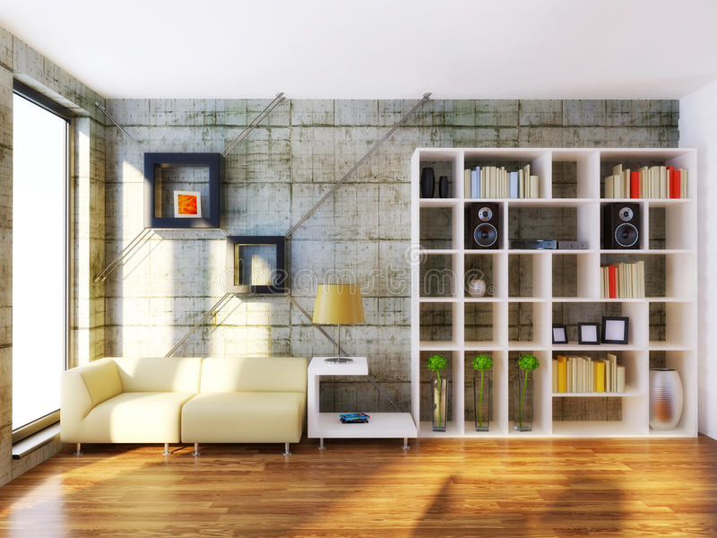 Room. Modern interior room with beige furniture and concrete wall royalty free stock photos