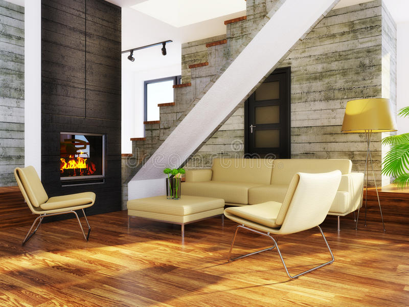 Room. Modern interior room with beige furniture and concrete wall stock image