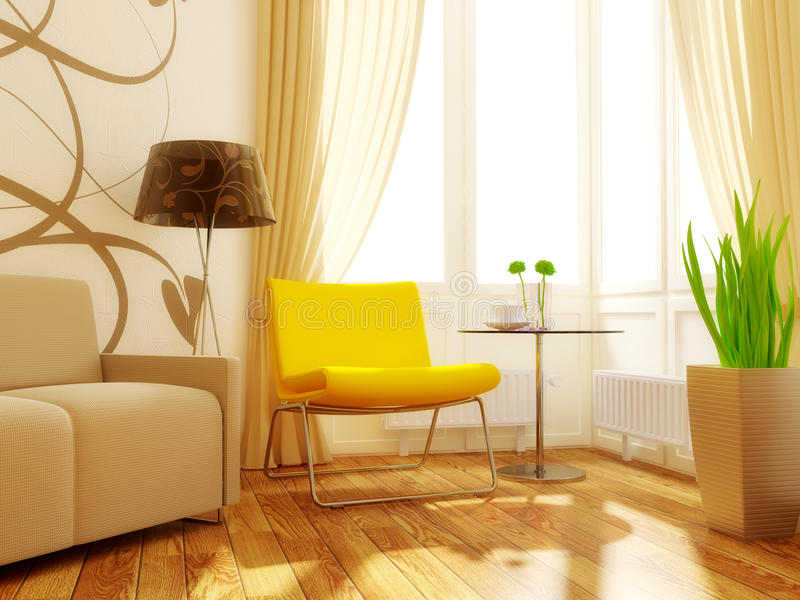 Room. Yellow armchair in modern room with sunlight royalty free stock photos