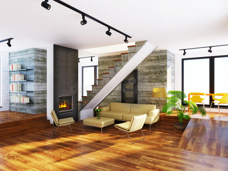 Room. Modern interior room with beige furniture and concrete wall royalty free stock images