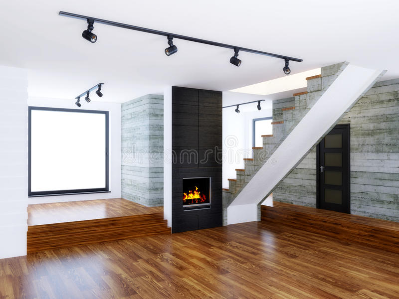 Room. Empty modern interior room with concrete wall royalty free stock image
