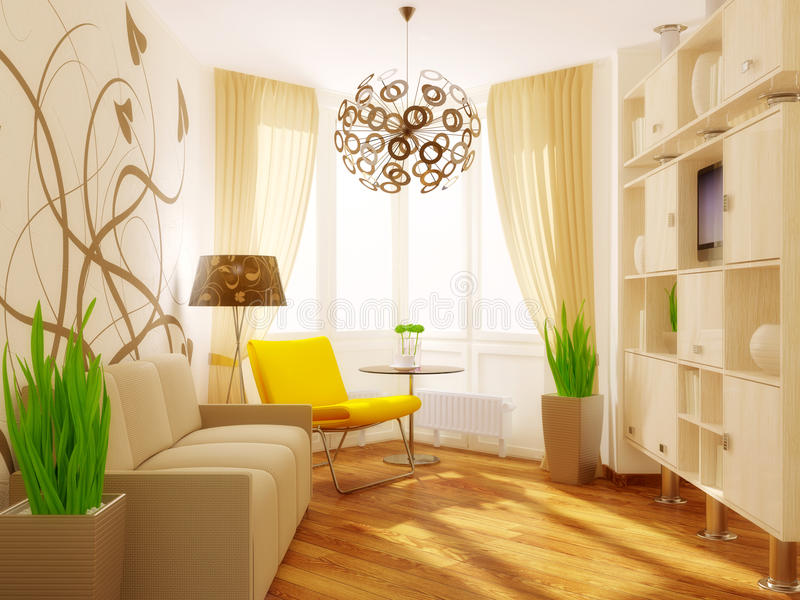Room. Modern interior room with yellow armchair and pattern on the wall stock photography