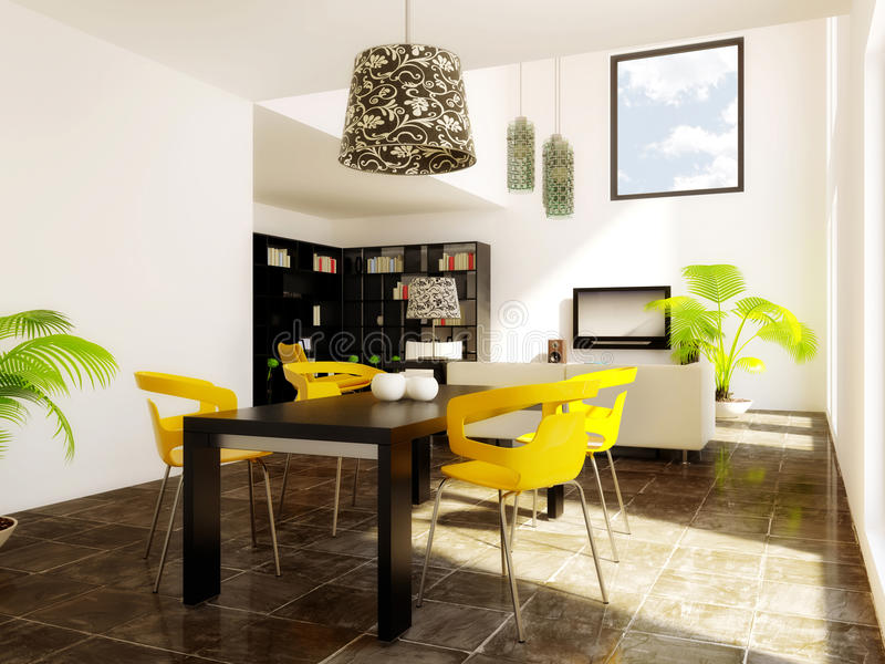 Room. Modern room with yellow furniture and white wall royalty free stock images
