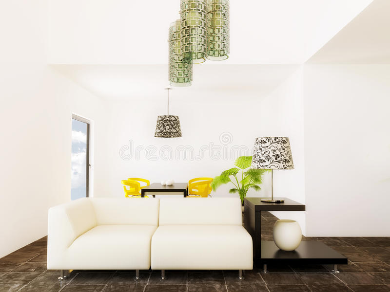 Room. Modern room with yellow furniture and white wall royalty free stock photo