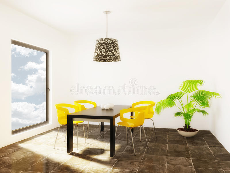 Room. Modern room with yellow furniture and white wall stock photography
