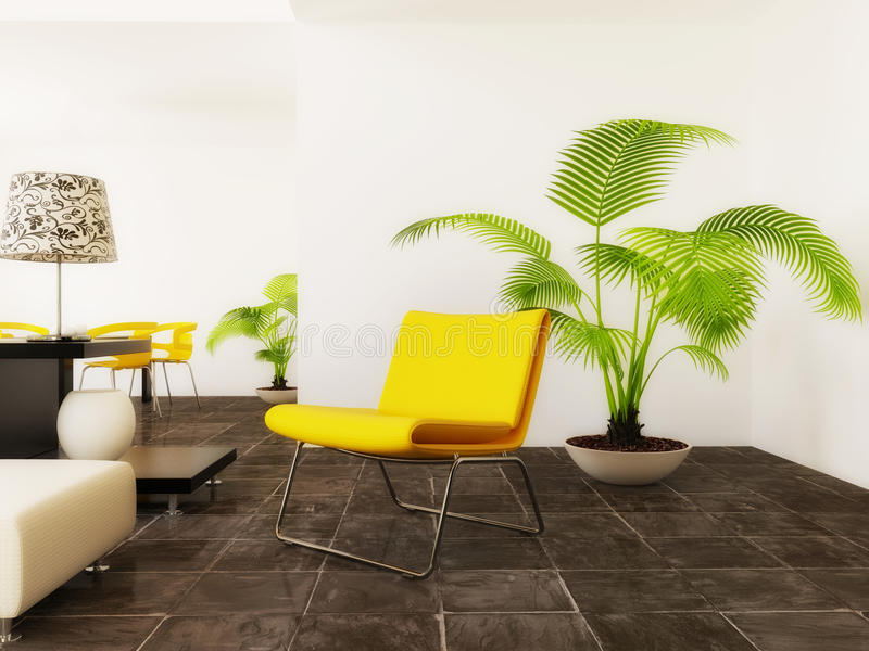 Room. Big yellow armchair in modern room with white wall stock image