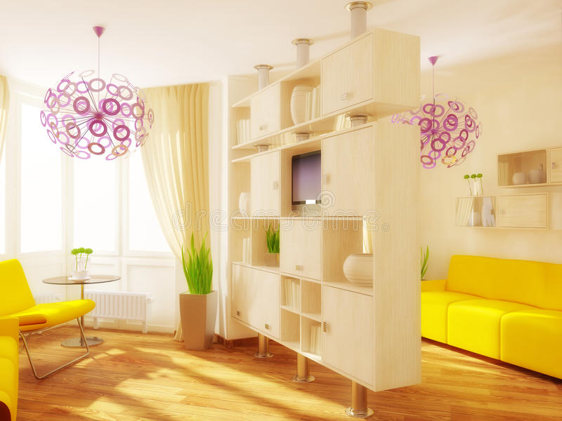 Room. Yellow furniture in modern room with sunlight royalty free stock photo