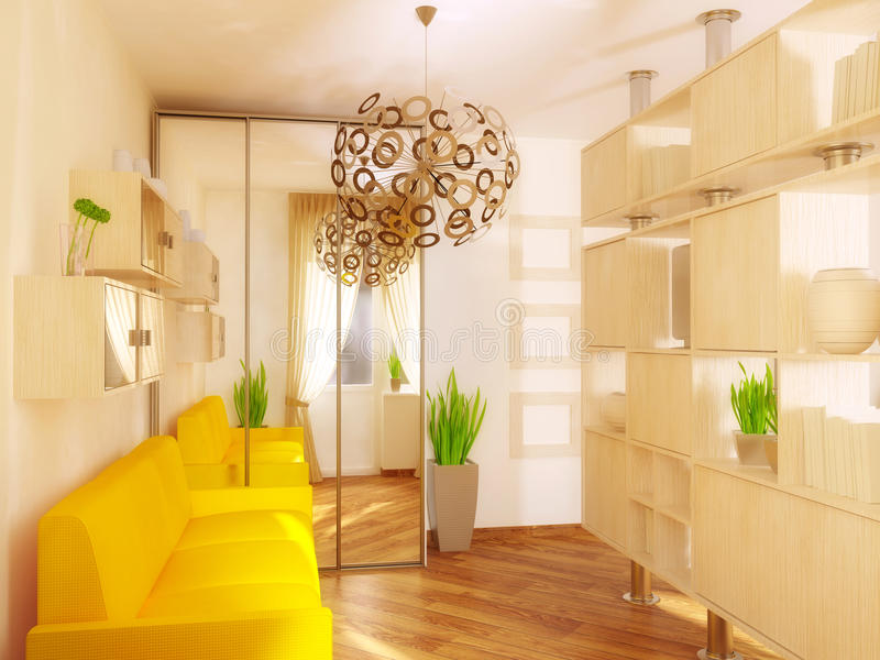 Room. Yellow sofa in modern room with white furniture stock photos