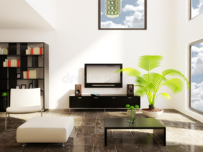 Room. Modern room with beige furniture and white wall royalty free stock images