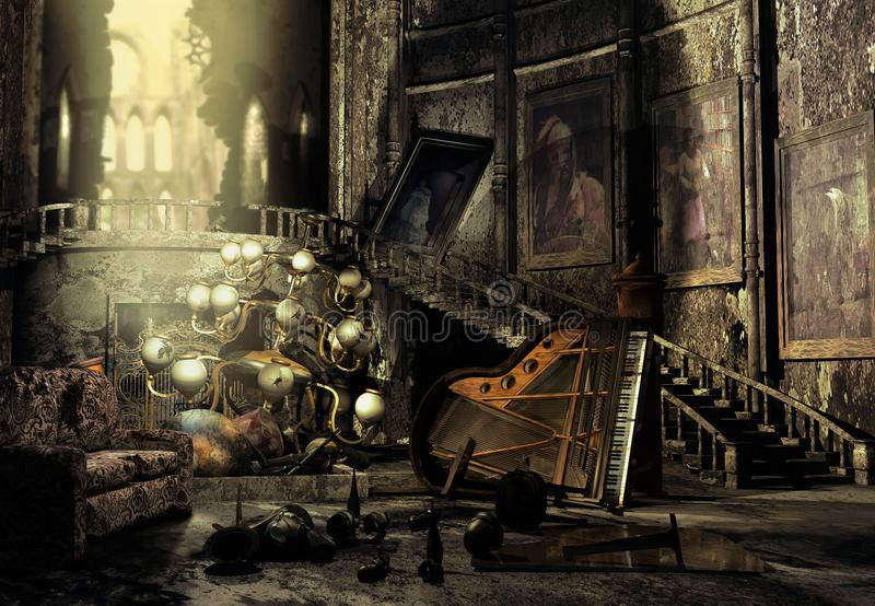 Room of an abandoned castle. Inside the big room of an abandoned castle, with plenty of destructed pieces and a broken piano royalty free illustration