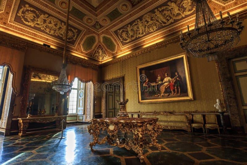 Room of the Ancient Reggia di Caserta in Italy stock images