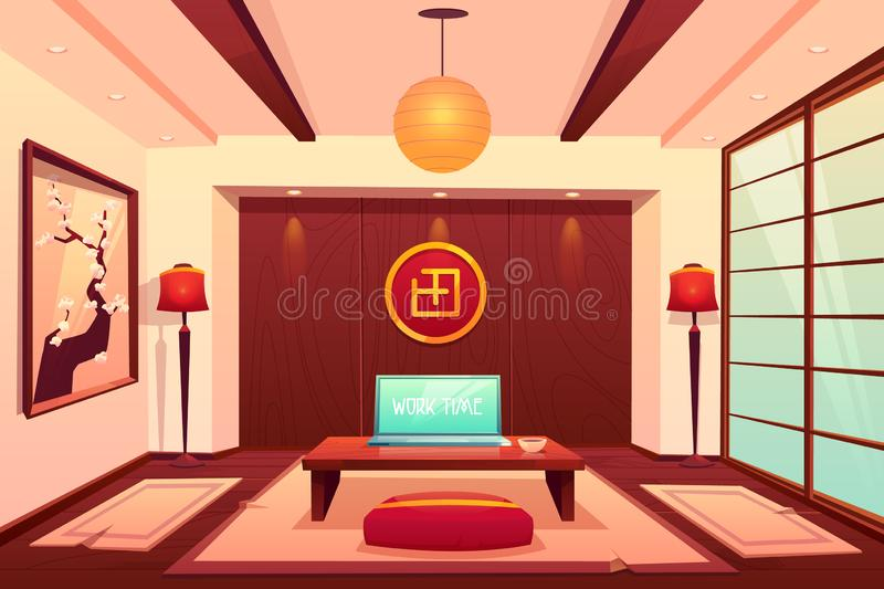 Room in asian style, empty apartment interior. Room in asian style, chinese, japanese, eastern empty apartment interior, cup and laptop with work time royalty free illustration