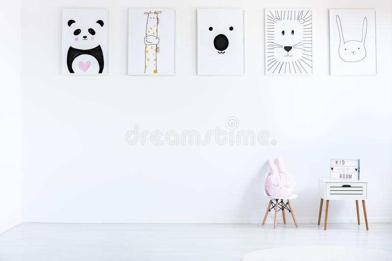 Room with autistic kid drawings royalty free stock photography
