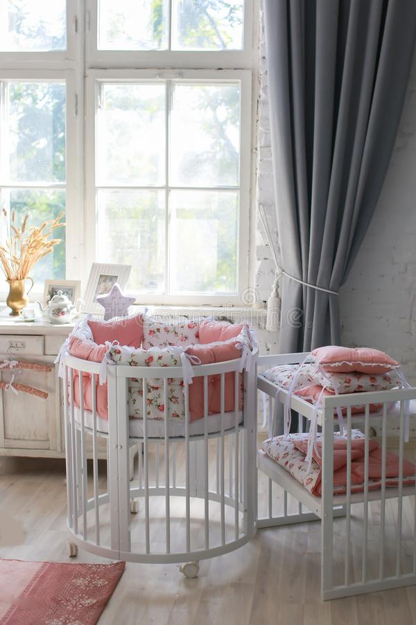 Room for baby, baby round crib royalty free stock photo