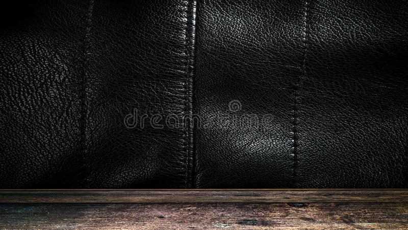 Room with a black leather wall and ceiling. metal texture. 3D rendering. Room with a black leather wall and ceiling. old metal texture. 3D rendering royalty free stock photo