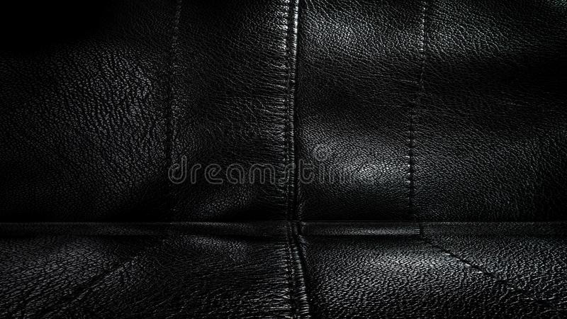 Room with a black leather wall and ceiling. 3D rendering. Room with a black leather wall and ceiling. old metal texture. 3D rendering royalty free stock images