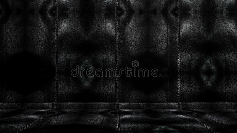Room with a black leather wall and ceiling. 3D rendering. Room with a black leather wall and ceiling. old metal texture. 3D rendering stock photo