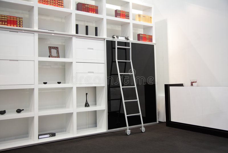 Room with book cabinet stock images